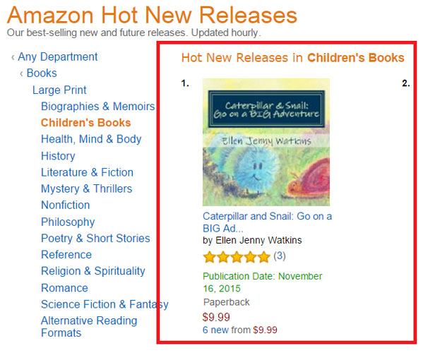 Caterpillar and Snail: Go on a BIG Adventure hits #1 on Amazon Hot New Releases in Children's Books (screenshot)